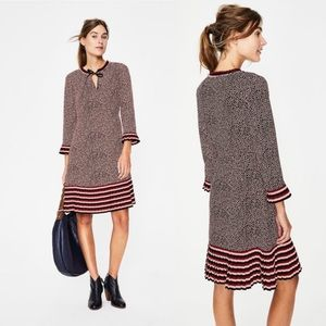 Boden Lara Pleat Long Sleeve Printed Dress